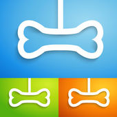 Set of applique bone icon. Vector illustration for happy animal — Stock Vector