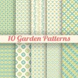 10 Green garden vector seamless patterns. Abstract texture — Stock Vector #48877679