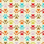Animal seamless vector pattern of paw footprint. Endless texture — Stock Vector