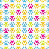 Animal seamless vector pattern of paw footprint. Endless texture — Stok Vektör