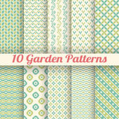 10 Green garden vector seamless patterns. Abstract texture — Stock Vector