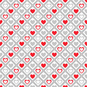 Seamless geometric pattern with hearts. Vector illustration — Stockvektor