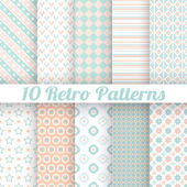 Pastel retro different vector seamless patterns — Stock Vector
