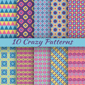 Colorful crazy vector seamless patterns — Stock Vector