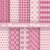 Feminine vector seamless patterns. Fond pink — Stok Vektör
