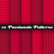 Passionate vector seamless patterns. Hot red color. — Stock Vector #50430297