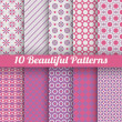 10 Beautiful vector seamless patterns. Pink, purple — Stock Vector #50430709