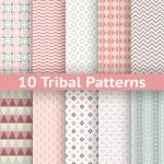 10 Tribal vector seamless patterns. Endless texture — Stock Vector #50431055
