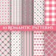 10 Romantic vector seamless patterns — Stock Vector #50431601