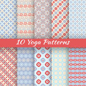 Yoga vector seamless patterns — Stock Vector