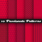 Passionate vector seamless patterns. Hot red color. — Stock Vector