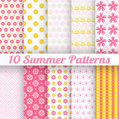 10 Light summer vector seamless patterns — Stock Vector