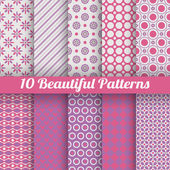 10 Beautiful vector seamless patterns. Pink, purple — Cтоковый вектор