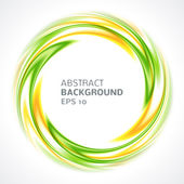 Abstract green and yellow swirl circle bright background — Stock Vector