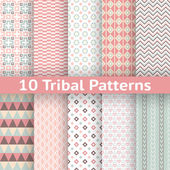 10 Tribal vector seamless patterns. Endless texture — Stock Vector