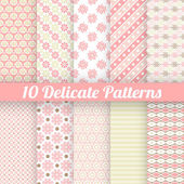 10 Delicate lovely vector seamless patterns — Stock Vector