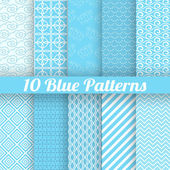 10 Blue different seamless patterns — Stock Vector
