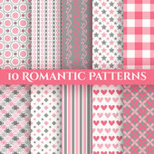 10 Romantic vector seamless patterns — Stock Vector