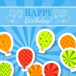 Happy birthday funny postcard with balloons. Vector — Stock Vector #51121383
