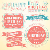 Happy birthday greeting card collection in holiday design — Vettoriale Stock