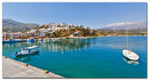 Agia galini harbor in crete island — Stockfoto