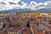 View over Italian town Lucca with typical terracotta roofs — Stock Photo