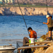 Ayia Napa men fishing — Stock Photo