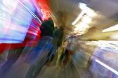 People walk at subway station abstract blur — Stock Photo