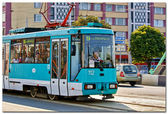 Blue tramway — Stock Photo