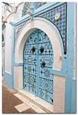 Blue carved doors — Stock Photo