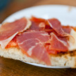 Stock Photo: Thinly sliced ham on bread