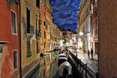 Tranquil Venice canal at night — Stock Photo