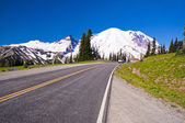 The Road Direction to Mt Rainer at Sunrise point in Mt Rainier National Park — Stock Photo
