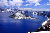 Beautiful crater lake with blue water — Stock Photo