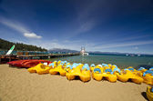 A series of boat at lake tahoe beach — Stock Photo