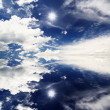 Stock Photo: Beautiful cloud reflection in lake