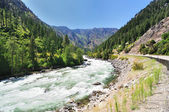 The water flow wenatchee river , cascade loop , washington — Stock Photo