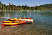The Boats in the Elk Lake — Stock Photo