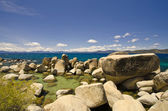 The Beautiful view of Lake Tahoe with Rocks at foreground — Stock Photo