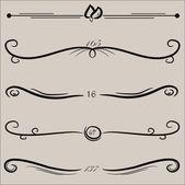 Conjunto de vectores: elementos de diseño caligráfico y decoración de página — Vector de stock