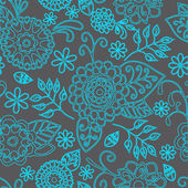 Seamless Floral Pattern On Gray Background — Stock Vector