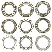 Set Of Circle Ornate Frames — Stock Vector