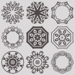 Set Of 9 Vector Circle Ornaments For Design — Stock Vector