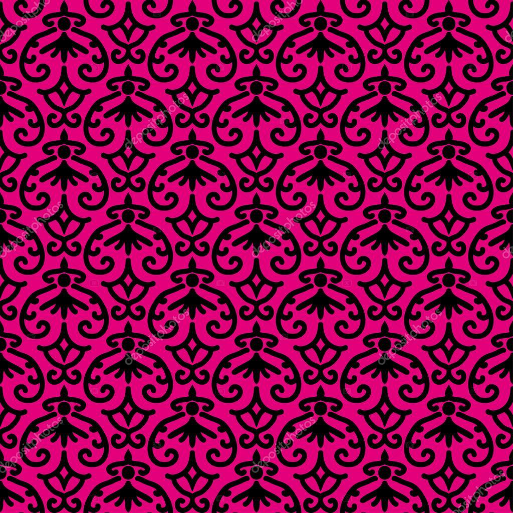 ornamento preto em fundo rosa — Vetor de Stock © LanaXml #28032577