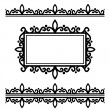 Set Of Design Elements - 2 Borders and Ornate Frame — Stock Vector