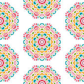 Seamless Pattern With Circle Ethnic Ornament — Stock Vector