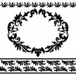 Set Of Vintage Design Elements - 2 Borders and Ornate Frame — Stock Vector