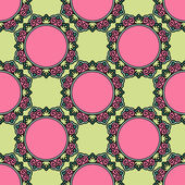 Seamless Pattern With Circle Floral Ornament — Cтоковый вектор
