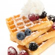 Waffle with berries and cream. — Stock Photo
