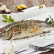 Two grilled trouts with fresh herbs. — Stock Photo